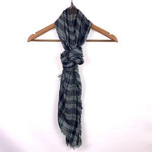 Plaid Blanket Wrap Scarf Lightweight Shawl Blue